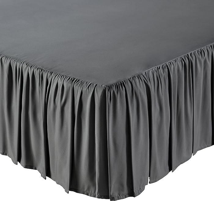 AmazonBasics Ruffled Bed Skirt, 16 Inch Skirt Length, Full, Dark Grey