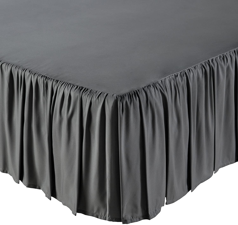 AmazonBasics Ruffled Bed Skirt - Twin, Black BS2-BLK-TW