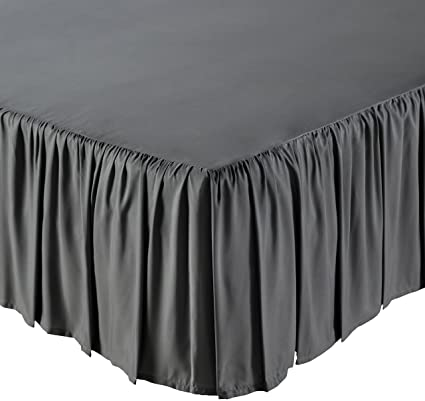 AmazonBasics Ruffled Bed Skirt - Queen, Dark Grey