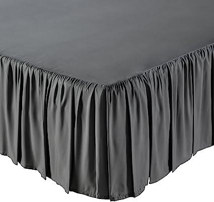 Amazon Com Amazonbasics Ruffled Bed Skirt Queen Dark Grey Home