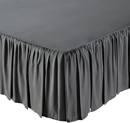 AmazonBasics Ruffled Bed Skirt - Twin, Dark Grey