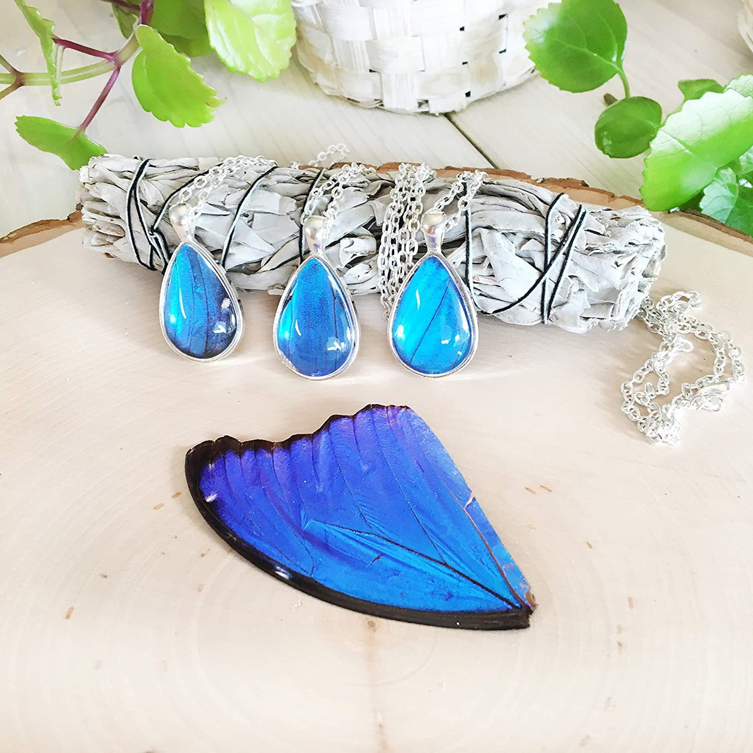 BLUE MORPHO Butterfly Wing Pendant Butterfly Wing Jewelry AUTHENTIC Butterfly Wings Eco Friendly Jewelry Statement Jewelry