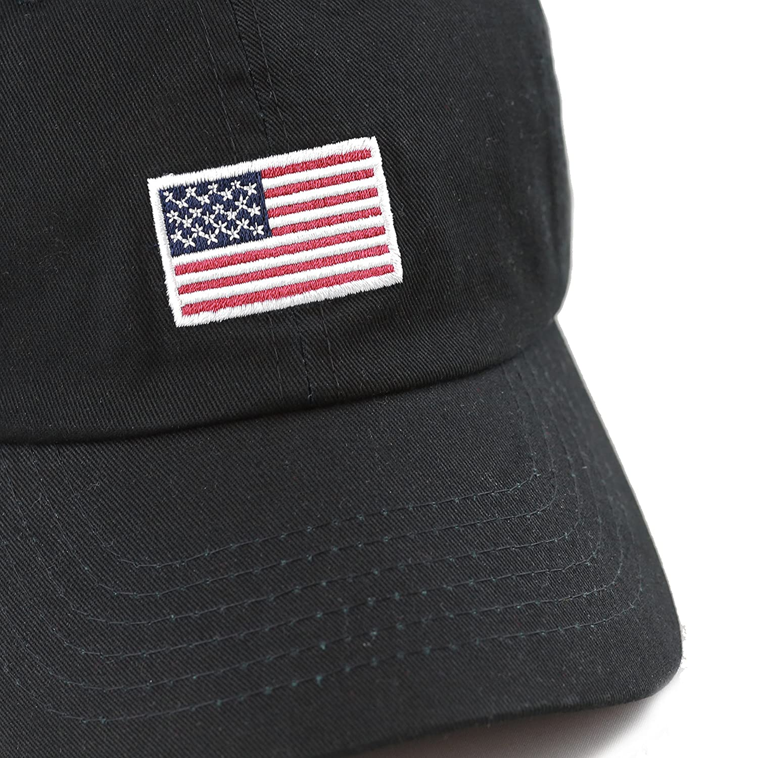 ea11acd1164 THE HAT DEPOT 300n1405 USA Embroidery Cotton Cap (Flag-Black) at Amazon  Women s Clothing store