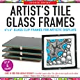 Studio Series Artist's Tile Glass Frames (Set of 4 clip frames for tiles, miniature art, and photos)