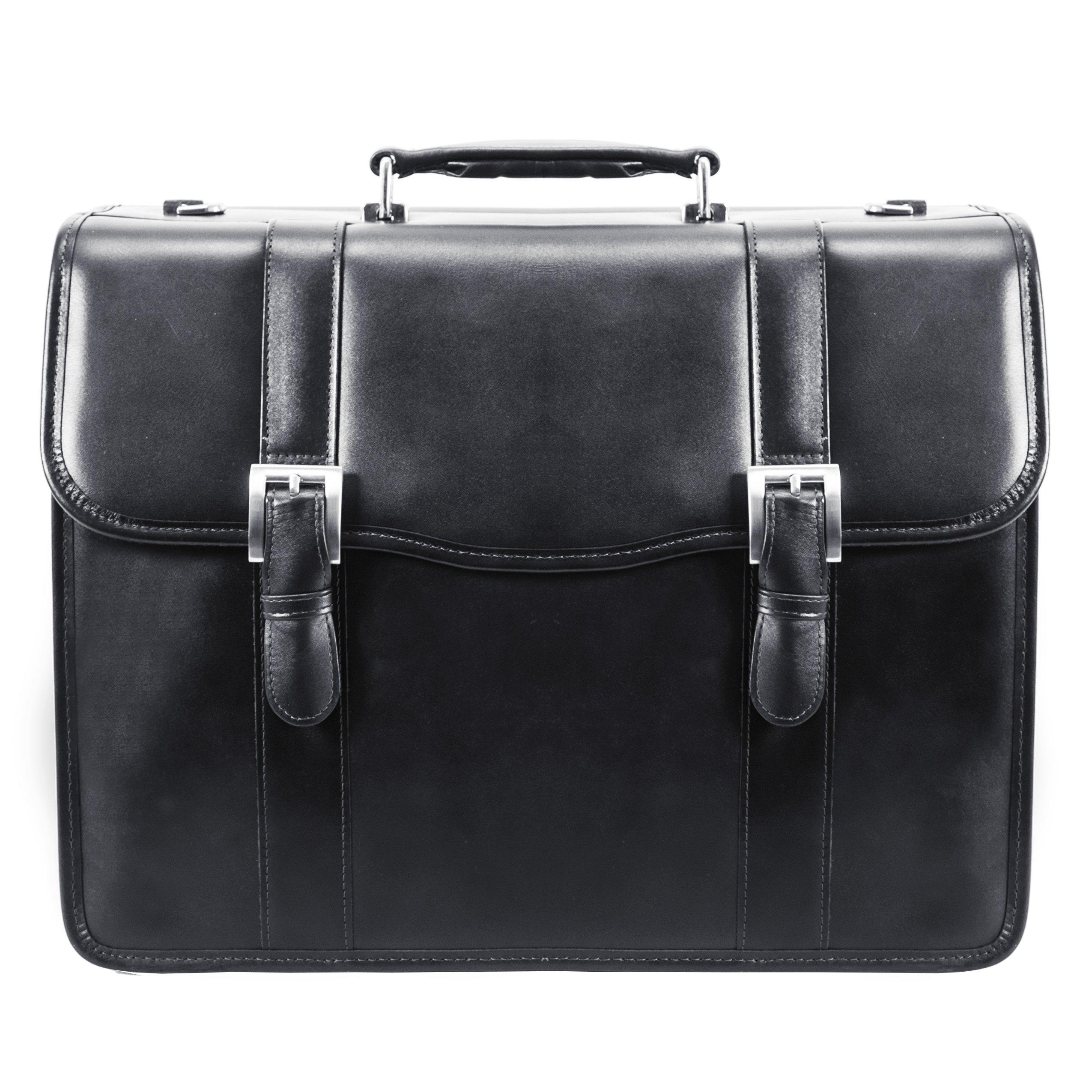 McKlein, V Series, FLOURNOY, Top Grain Cowhide Leather, 15'' Leather Double Compartment Laptop Briefcase, Black (85955) by McKleinUSA (Image #5)