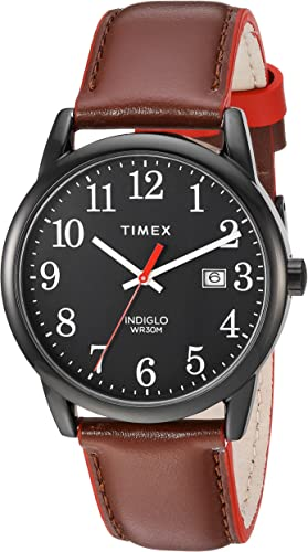 Amazon.com: Timex Men's TW2R62300 Easy Reader 38mm Brown/Black Leather Strap Watch: Watches
