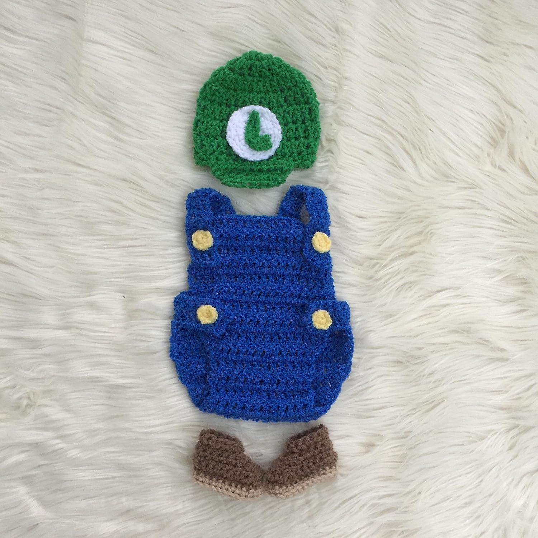 Amazon Baby Super Mario Luigi Costume Newborn Photo Prop Outfit