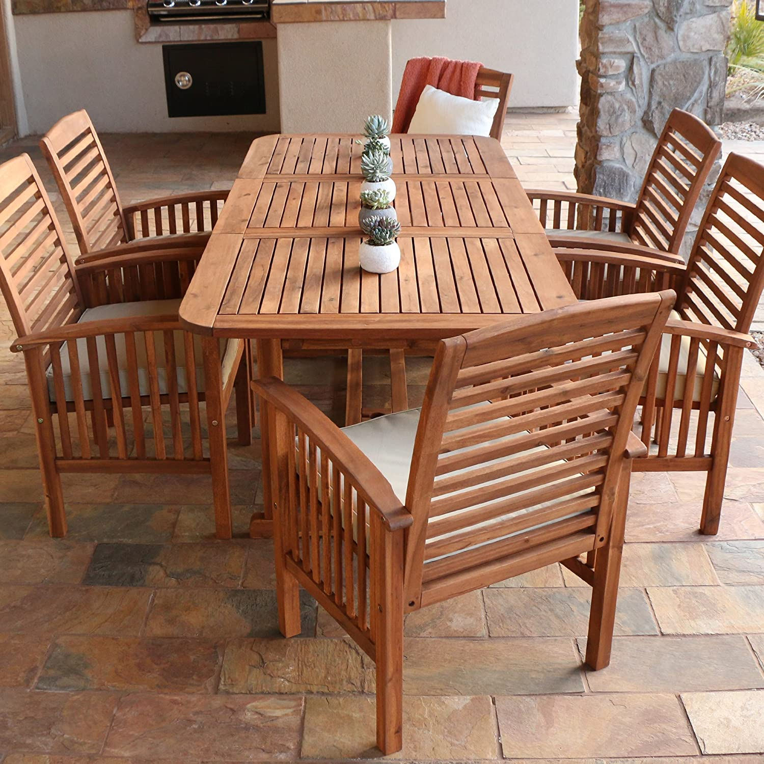 Amazon.com: Walker Edison Solid Acacia Wood 7-Piece Patio Dining Set ...