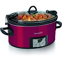 Crock-Pot 6-Quart Programmable Cook & Carry Oval Slow Cooker with Digital Timer, Red