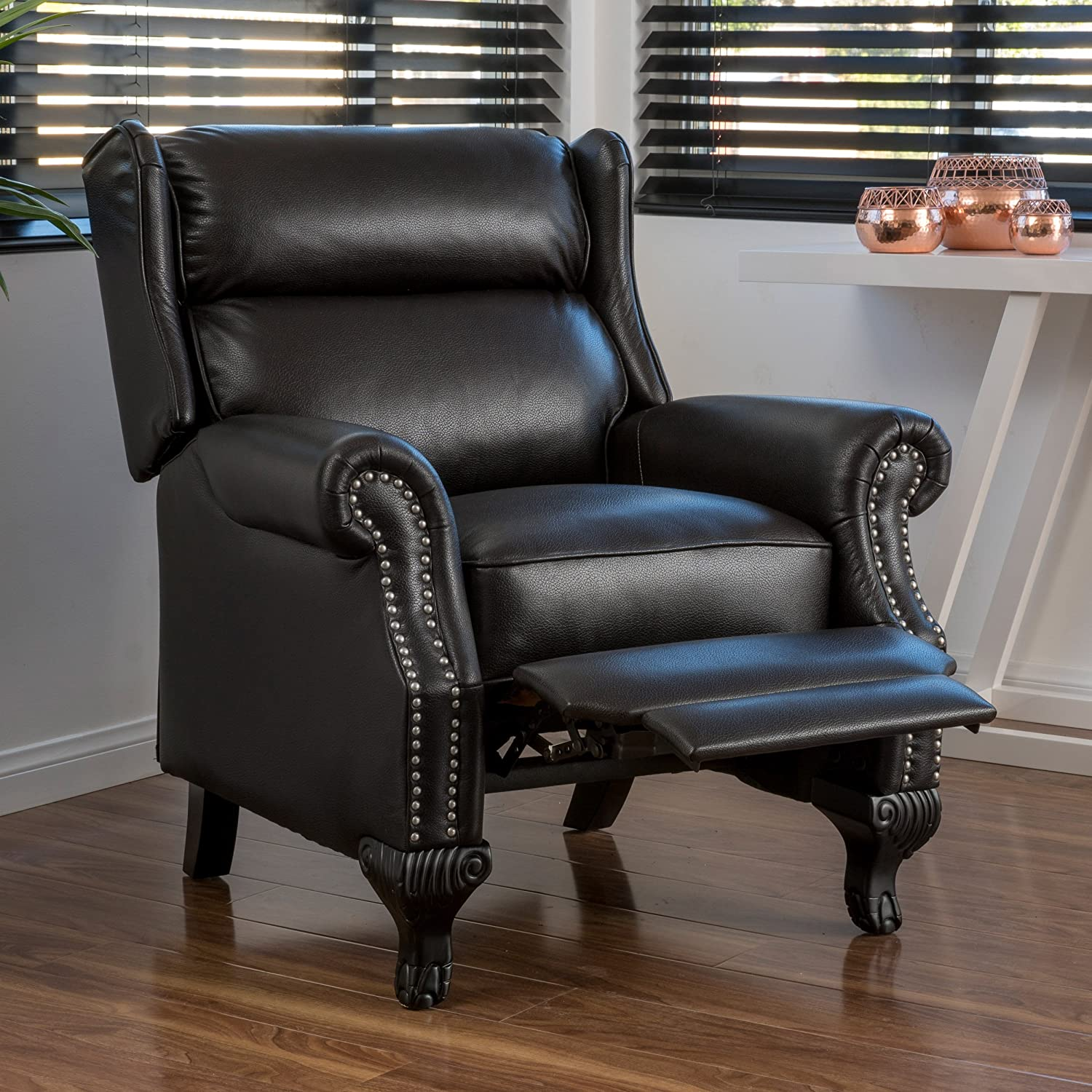 Amazon Curtis Black Leather Recliner Club Chair with Nailhead