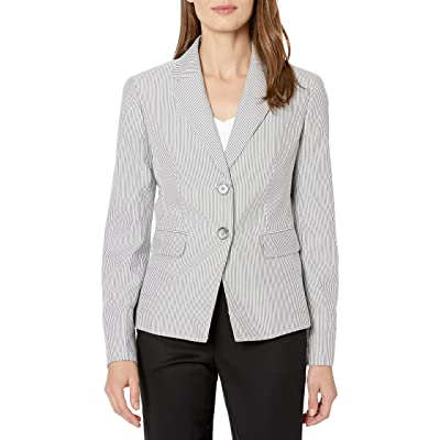 Kasper Women's Pinstripe Seersucker 2 Button Jacket at Women's Clothing store