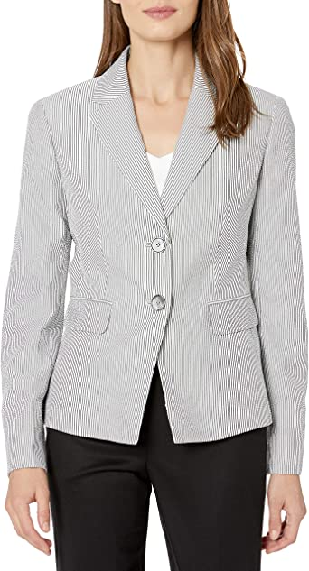 Kasper Women S Pinstripe Seersucker 2 Button Jacket At Amazon