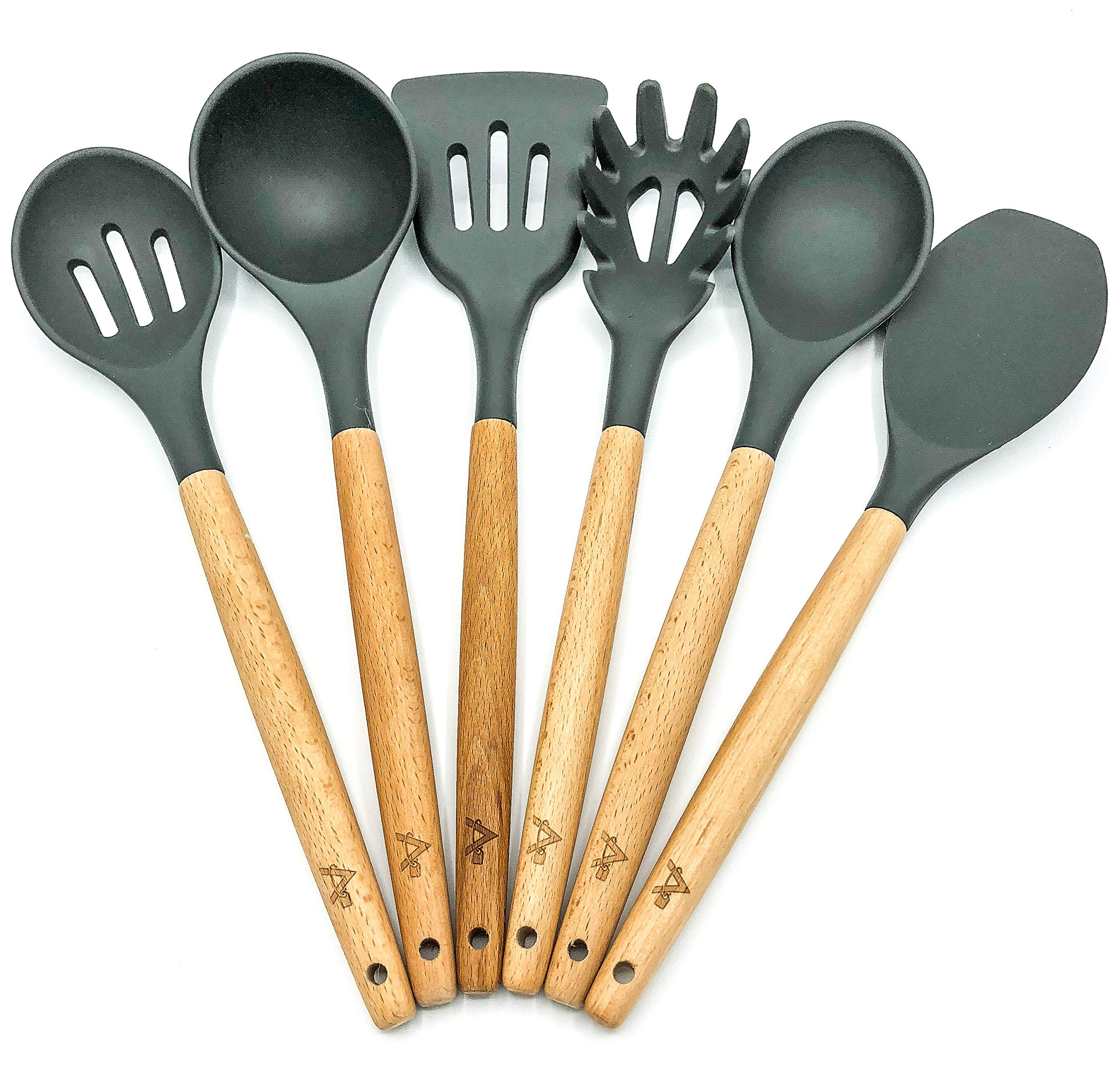AMRON817 - GREY Kitchen Utensil Set - Cooking Utensils - FDA Certified - Premium Quality - 6 Piece Set - GREY Silicone and Beech Wood