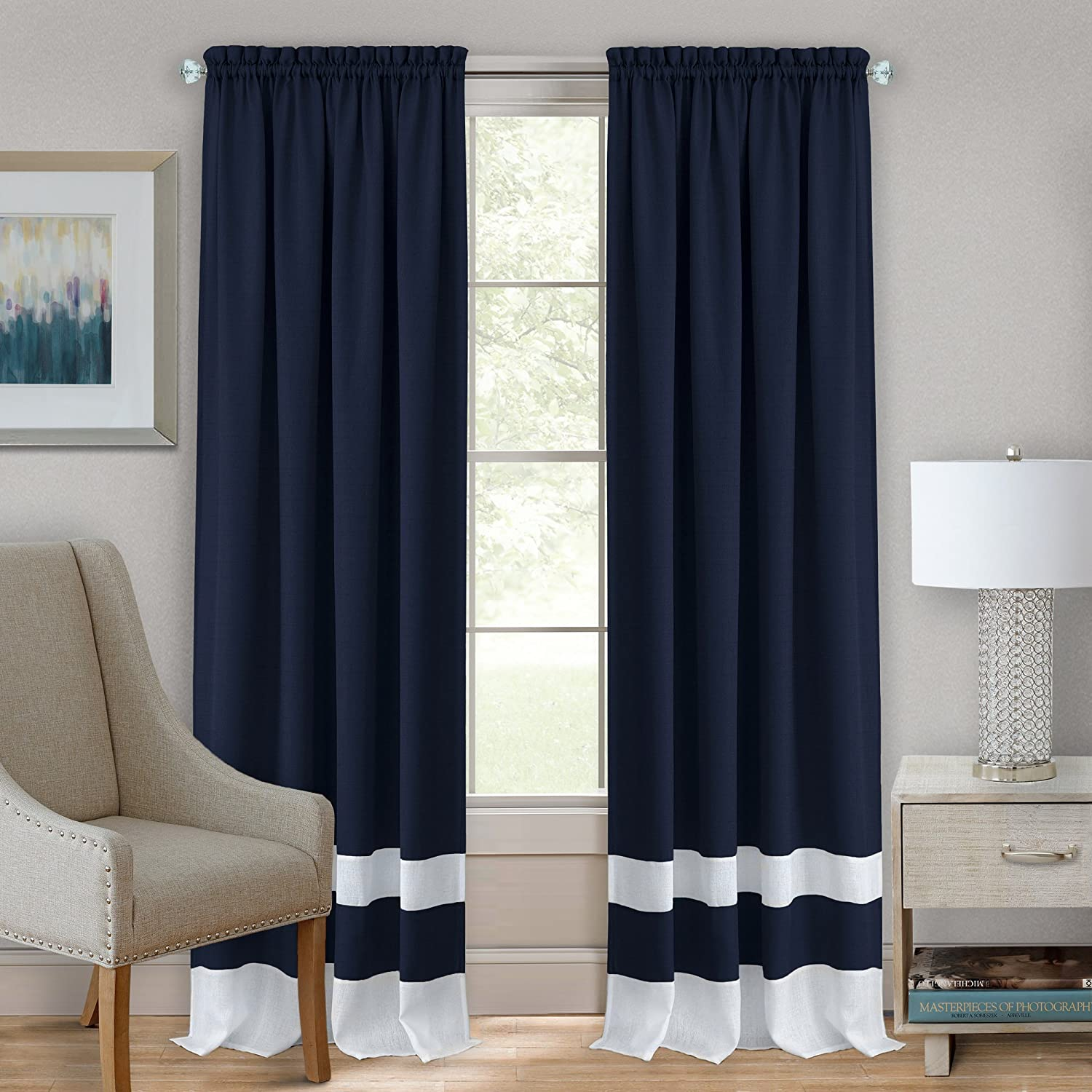 """Achim Home Furnishings Halley Window in a Bag, 56 63-Inch, Taupe,-Rod Pocket Panel 52"""" x 63"""", Navy & White"""