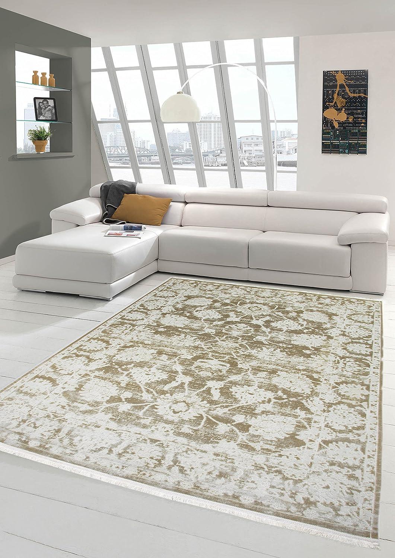 Merinos Vintage Teppich modern Wohnzimmerteppich Designteppich mit Fransen in Beige Creme Größe 120x170 cm