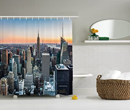 Ambesonne New York Shower Curtain By City Manhattan Skyline Cityscape Contemporary Artistic Sunset