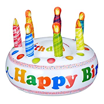 Relaxdays 10023885 Happy Birthday Gonflable Avec 7 Bougies Gâteau D