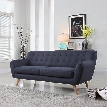 Mid Century Modern Linen Fabric Sofa, Loveseat In Colors Light Grey, Polo  Blue
