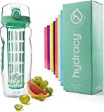 Hydracy Infuser Water Bottle with Full Length Infusion Rod and Insulating Sleeve Combo Set + 25 Fruit Infused Water Recipes eBook Gift - Large 32 Oz Sport Bottle - Your Healthy Hydration Made Easy