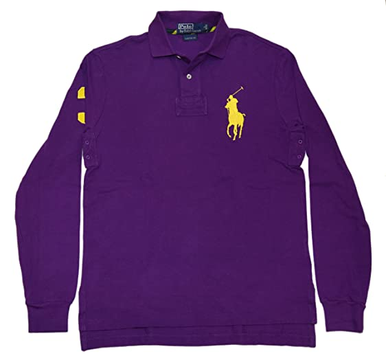 Ralph Lauren Polo Mens Custom Fit Big Pony Pullover Shirt Purple Yellow  Small