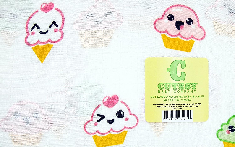 "Muslin Swaddle Blanket by Cutesy Baby 48/""x 48/"" 100/% Organic Bamboo"