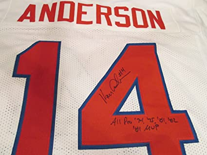 0918a266047 KEN ANDERSON Stat. Signed Pro Bowl Football Jersey -Lifetime ...