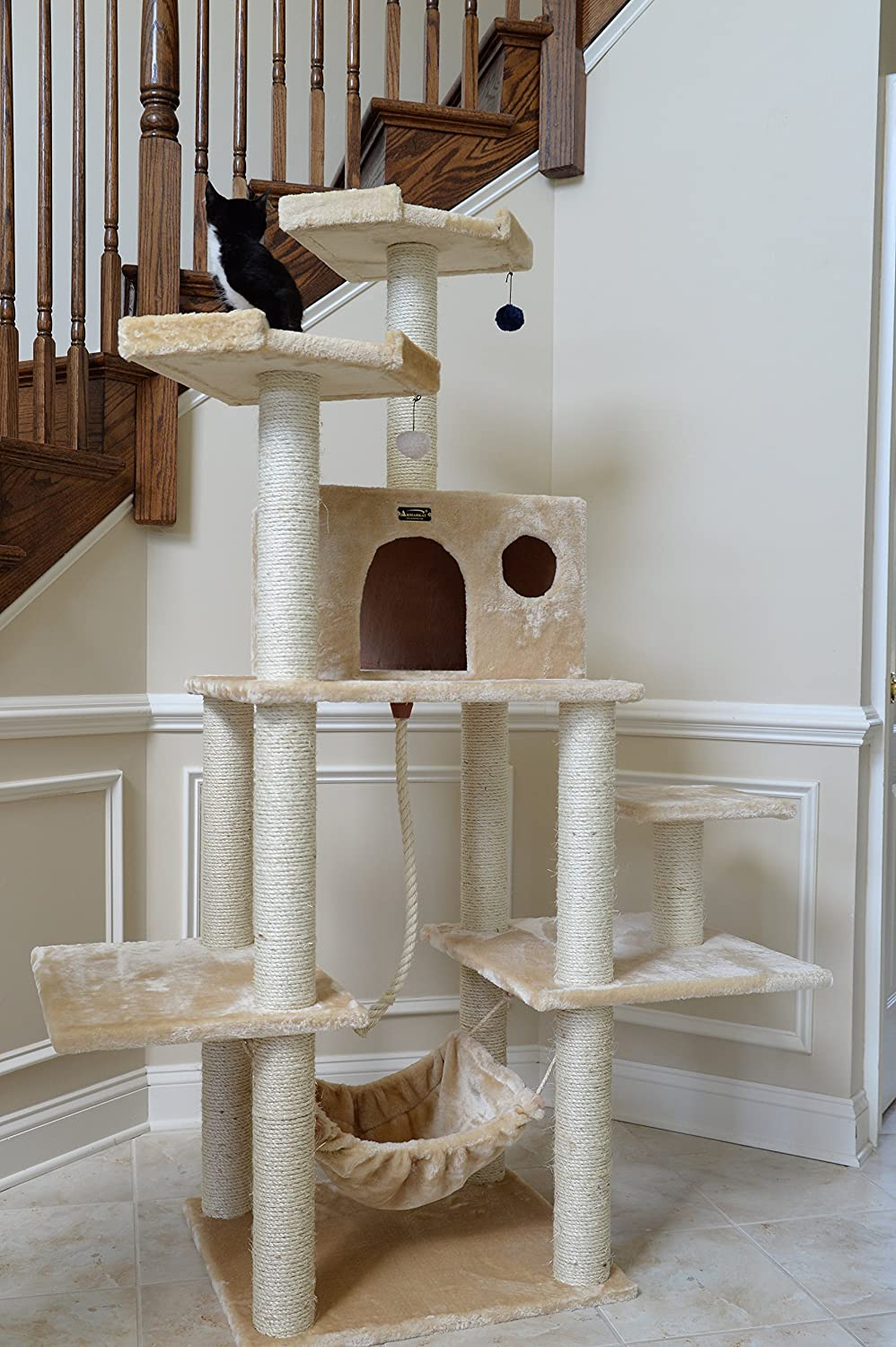 Watch Frisco 72-in Cat Tree, Large Base, Brown video