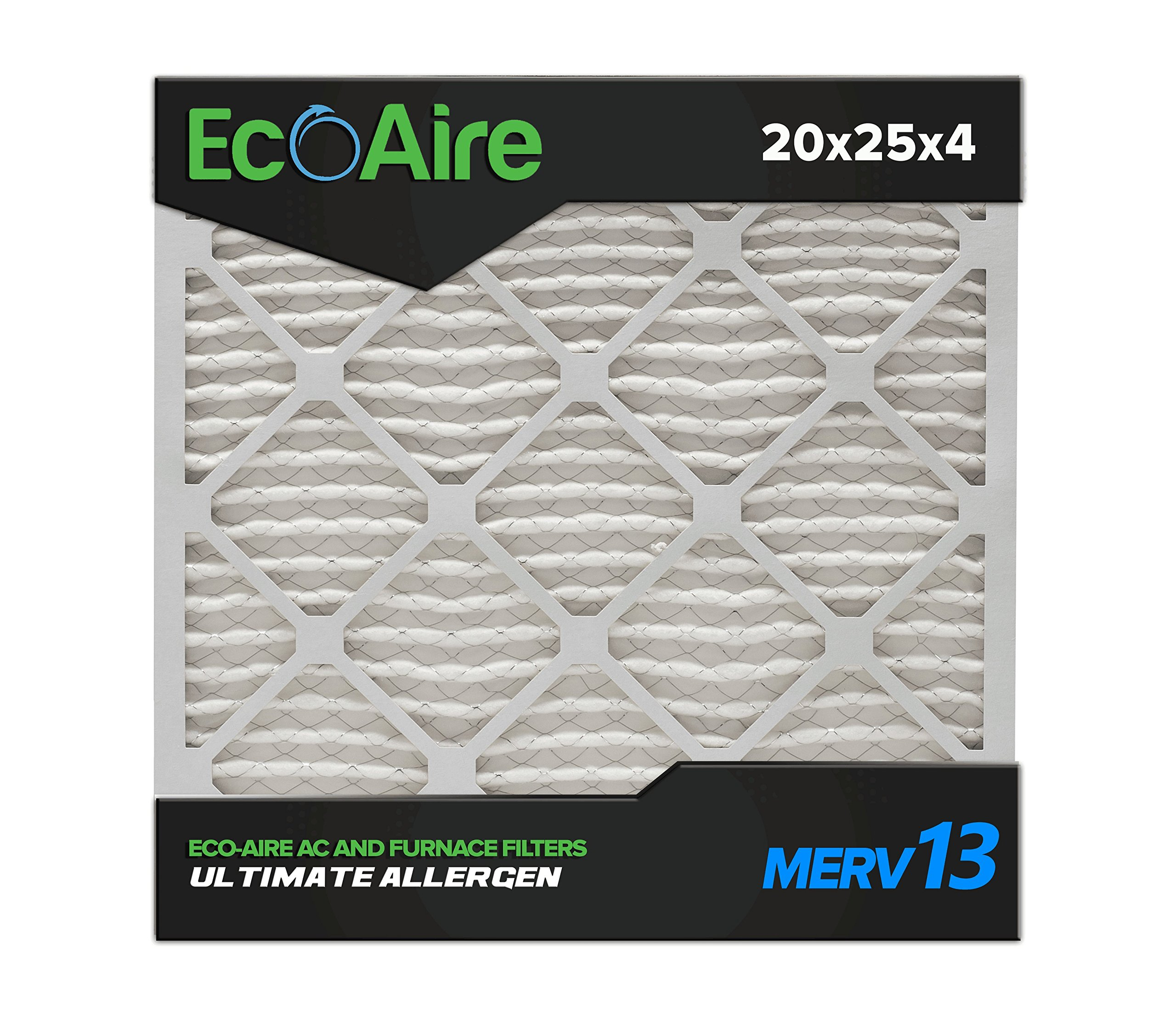 Eco-Aire 20x25x4 MERV 13, Pleated Air Filter, 20x25x4, Box of 6, Made in the USA