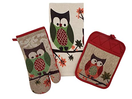 Charmant Autumn Owl Kitchen Linen Set   1 Kitchen Towel, 1 Potholder, 1 Oven Mitt