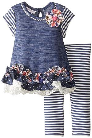 15dd9b909 Amazon.com: Bonnie Baby Baby Girls Chambray Dress and Legging Set, 3-6  Months: Clothing