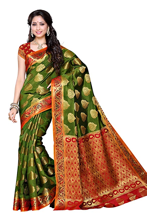 ae954f9c6ef Mimosa Women s Traditional Artificial Silk Saree Kanjivaram Style with Blouse  Color Olive(3313-161-OLV-RD)  Amazon.co.uk  Clothing