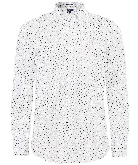 d7bf70cf Gant Men's Regular Fit Yarn Dye Snowflake Shirt White: Amazon.co.uk:  Clothing