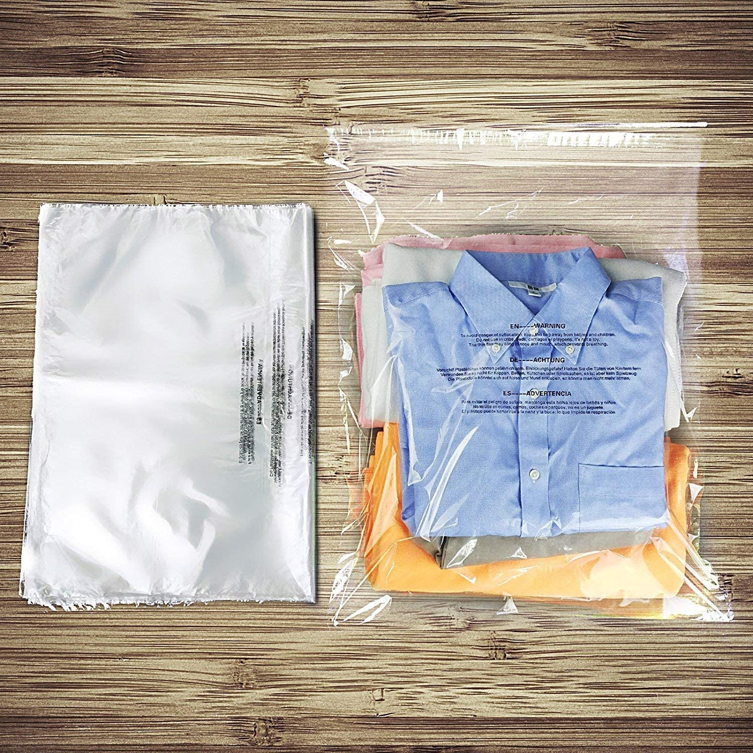 """100pcs Becko Self Seal Clear Flat Poly Bags with Suffocation Warning for Storing Clothing//Towel//Blanket//Doll 18/""""x24/"""""""