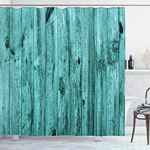 "Ambesonne Turquoise Shower Curtain, Wall of Turquoise Wooden Texture Background and Antique Timber Furniture Print, Cloth Fabric Bathroom Decor Set with Hooks, 75"" Long, Teal"