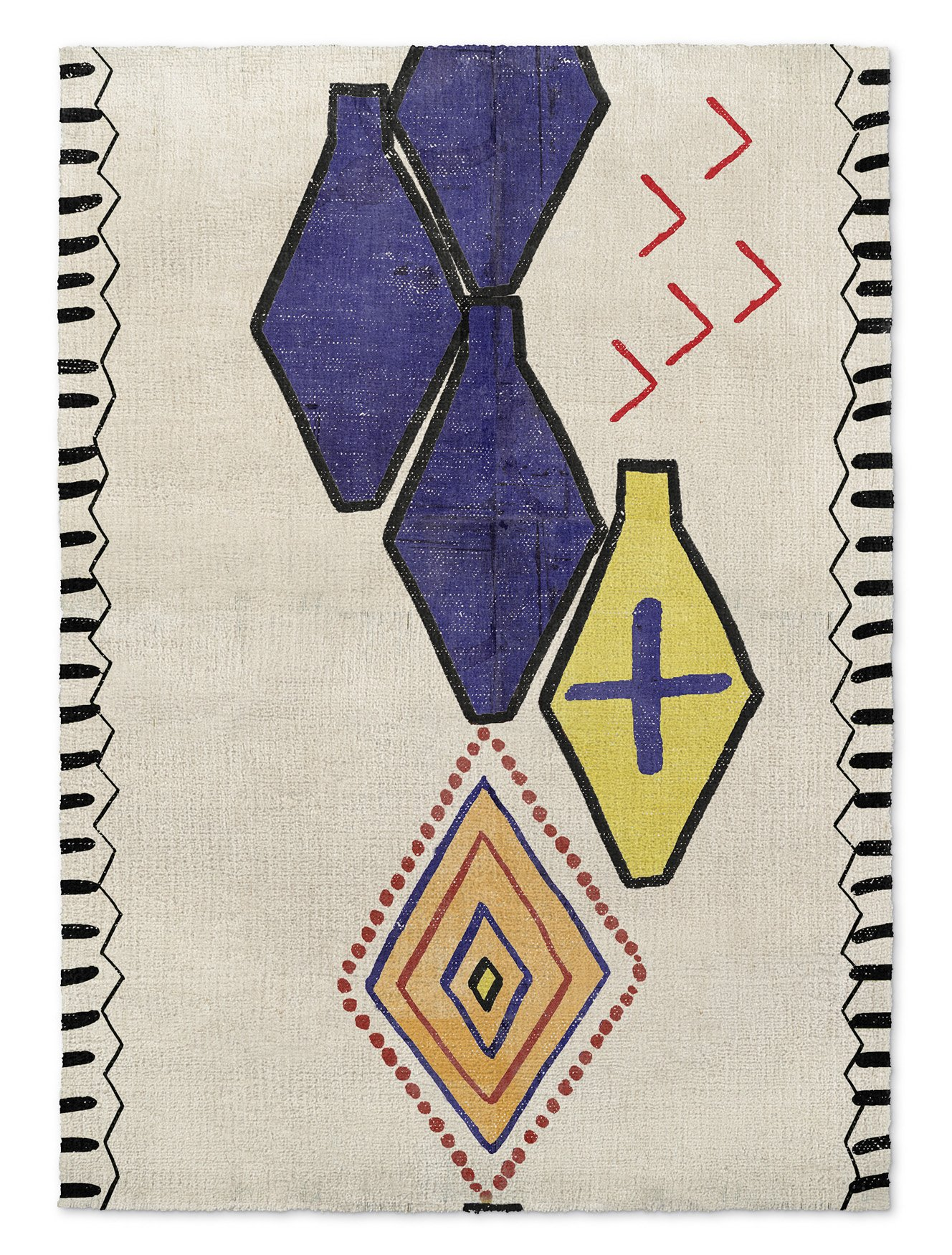 KAVKA Designs Bousslama Area Rug, (Red/Blue/Orange/Ivory) - NAVAJO Collection, Size: 5x7x.5 - (TELAVC8095RUG57)