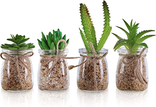 Plantas Artificiales Mini Macetas (Pack de 4) - Planta Artificial ...