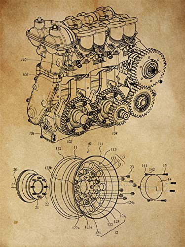 Automotive, Engine, Blueprint Patent, Patent Poster, Blueprint Poster, Art,  Gift