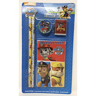 Paw Patrol 5 Piece Study Set (2 pencils, memo pad, sharpner, eraser): Toys & Games