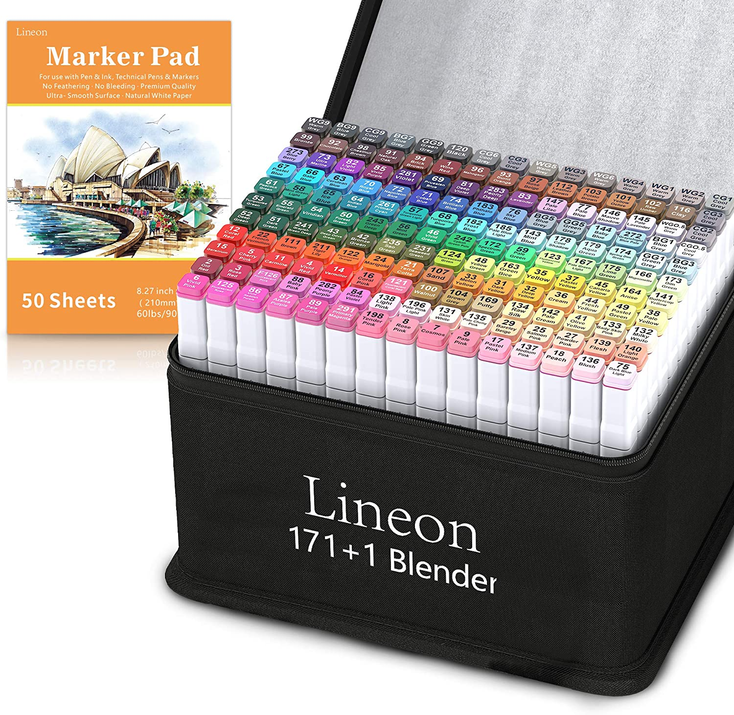 Lineon 172 Colors Alcohol Based Dual Tip Art Markers, 171+1 Blender Permanent Marker Pens Plus 1 Marker Pad 1 Case Perfect for Kids Adult Artist Coloring Books Drawing Sketching and Card Making