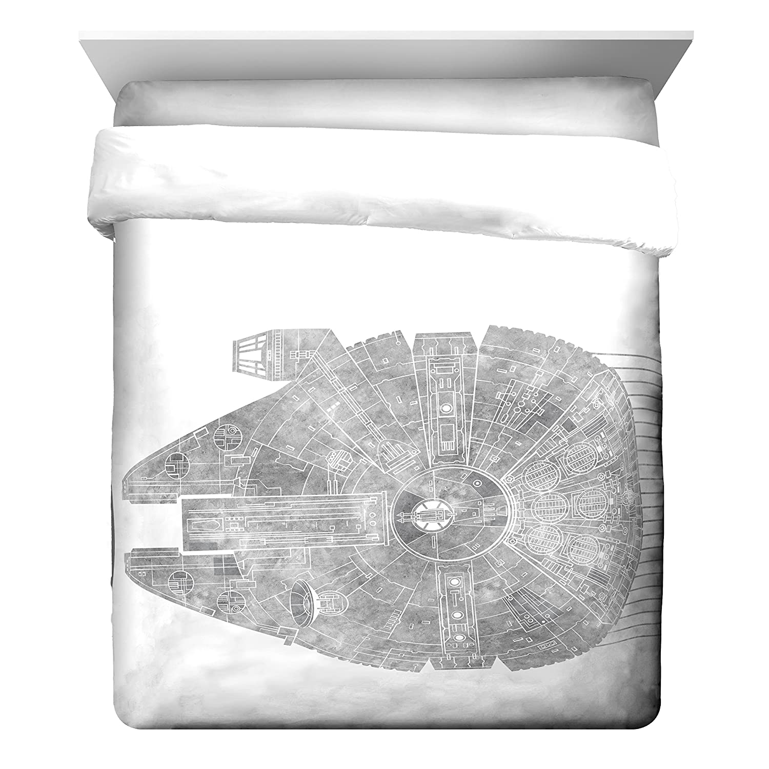 Star Wars Classic Falcon / California King Comforter - Super Soft Kids Reversible Bedding features the Millennium Falcon - Fade Resistant Polyester Microfiber Fill (Official Star Wars Product)