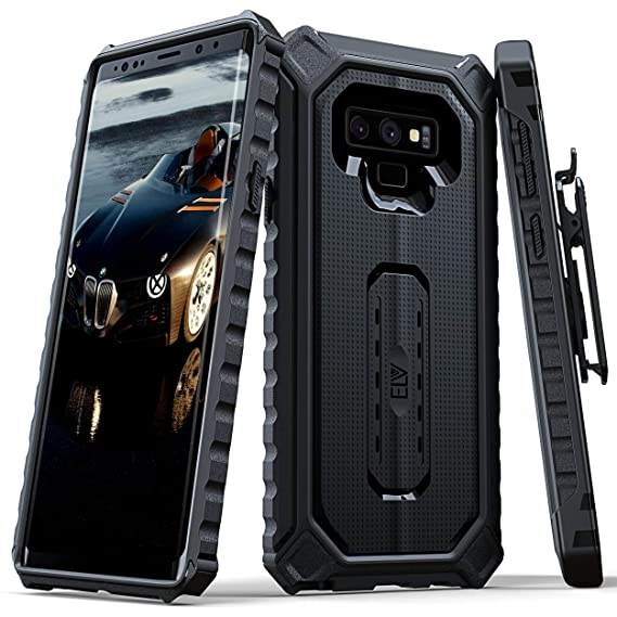 premium selection e107c 0ec52 Samsung Galaxy Note 9 Case, ELV [Venture Series] Premium Holster Belt Clip  Rugged Case Cover with Kickstand for Galaxy Note 9 (Black)