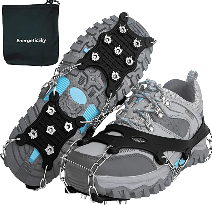 CZSMART Ice Cleats 1 Pair Snow Grips Crampons Anti-Slip Traction Cleats Ice /& Snow Grippers for Shoes and Boots 5 Steel Studs Slip-on Stretch Footwear for Women Men Kids