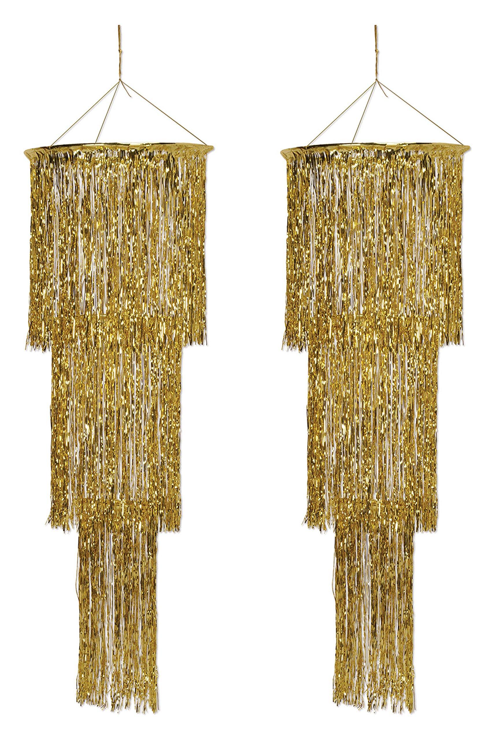 Beistle S57510-GDAZ2 3-Tier Shimmering Chandelier 2 Piece, Gold
