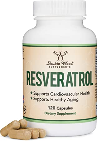 Resveratrol 500mg Per Serving, 120 Capsules (Natural Resveratrol Polygonum Root Extract Providing 50% Trans-Resveratrol) Anti-Aging Support by Double Wood Supplements