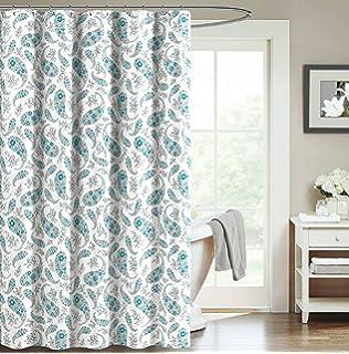 Teal Blue Aqua White Decorative Fabric Shower Curtain Floral Paisley Design 70 X