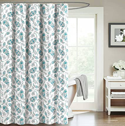 Teal Blue Aqua White Decorative Fabric Shower Curtain Floral Paisley Design 70quot X
