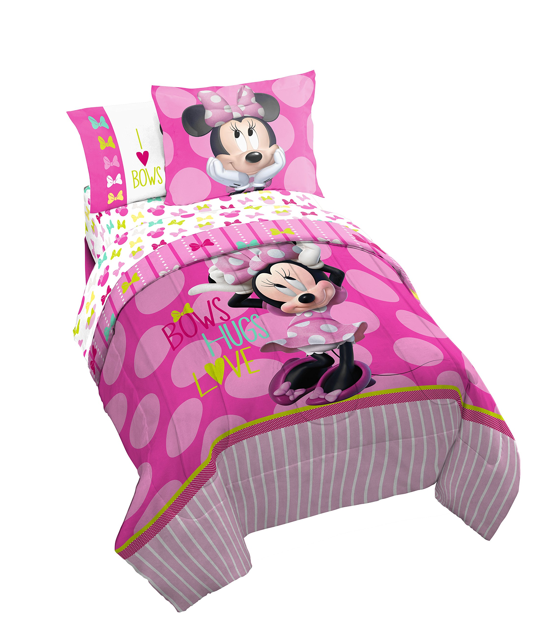 Disney Minnie Mouse Bigger Bow Twin Comforter - Super Soft Kids Reversible Bedding features Minnie Mouse - Fade Resistant Polyester Includes 1 Bonus Sham (Official Product)