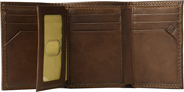 Columbia Mens Leather Trifold Card Wallet Brown