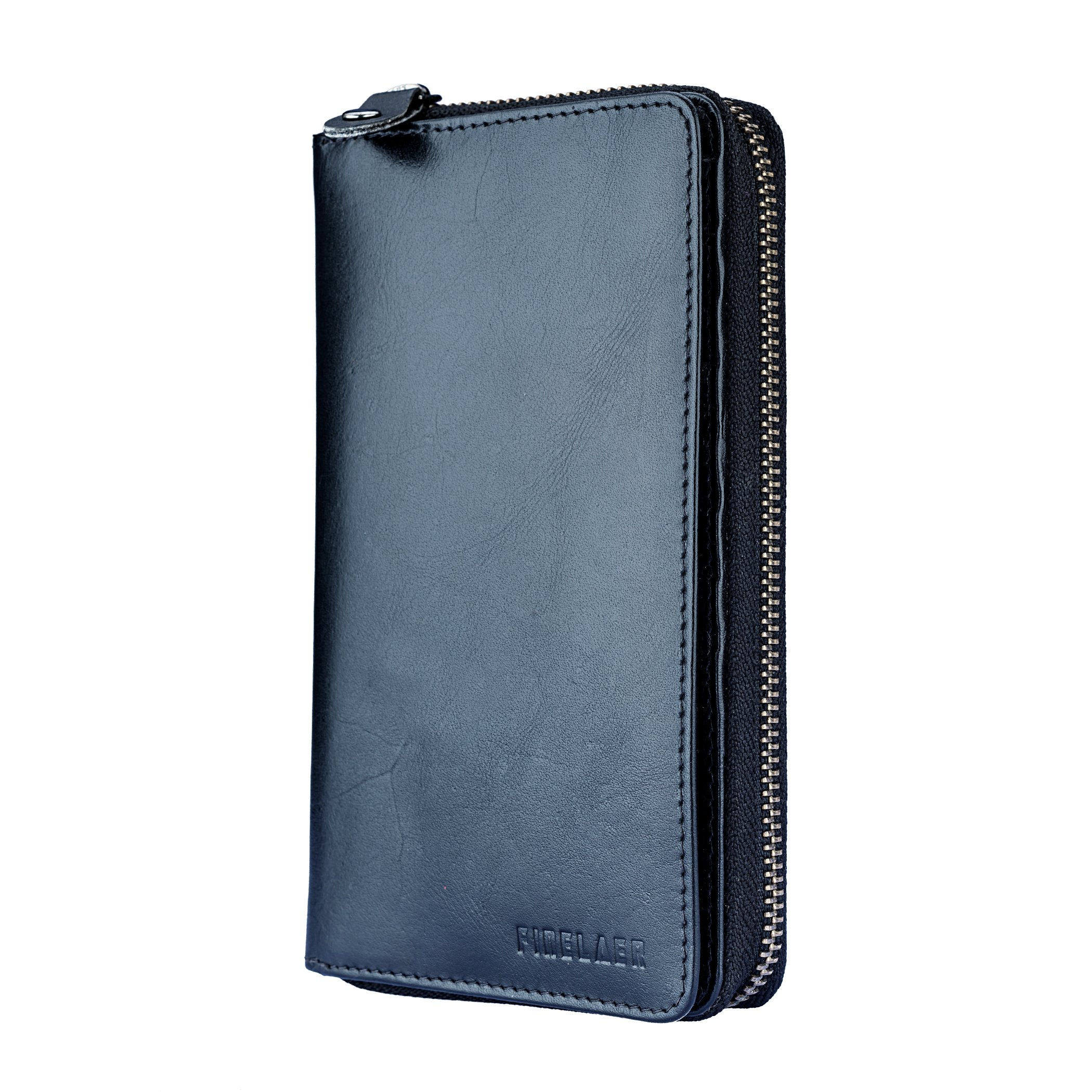Leather Bifold Travel Wallet Passport Black|Finelaer by FINELAER (Image #4)