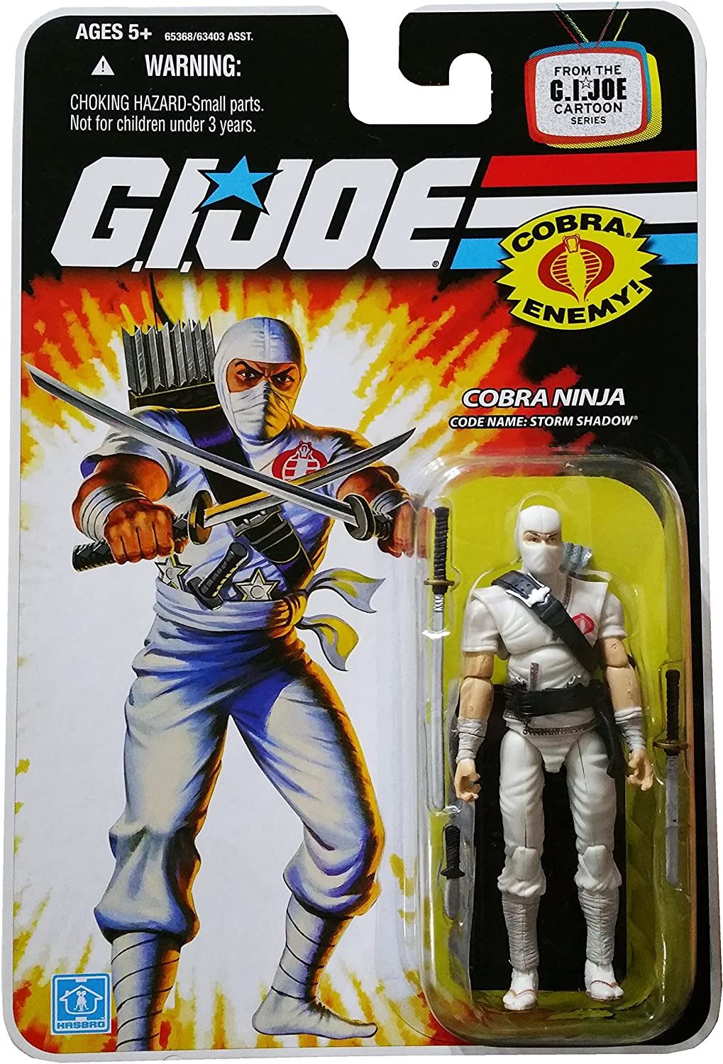 GI Joe 25th Anniversary Cartoon Series Cardback: Storm Shadow Classic (Cobra Ninja) 3.75 Action Figure